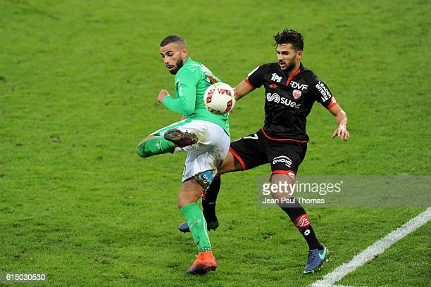 Oussama TANNANE of Saint Etienne and Mehdi ABEID pf Dijon during the Ligue 1 match between AS SaintEtienne and Dijon FCO at Stade GeoffroyGuichard on...