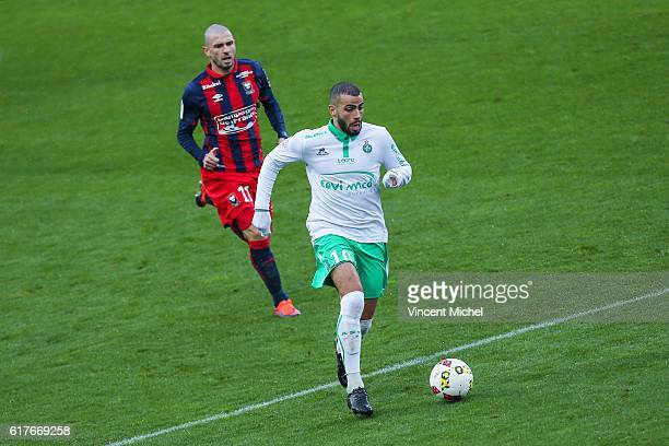 Oussama Tannane of SaintEtienne during the Ligue 1 match between SM Caen and AS SaintEtienne at Stade Michel D'Ornano on October 23 2016 in Caen...