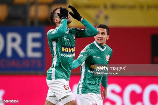 Oussama Zamouri of FC Dordrecht celebrates 21 during the Dutch Keuken Kampioen Divisie match between Roda JC v FC Dordrecht at the Parkstad Limburg...
