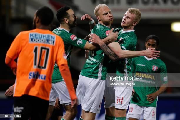 Oussama Zamouri of FC Dordrecht, Daniel Breedijk of FC Dordrecht, Jari Schuurman of FC Dordrecht, celebrate the 1-2 during the Dutch Keuken Kampioen...