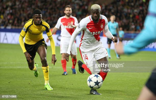Oussame Dembele of Dortmund Tiemoue Bakayoko of Monaco during the UEFA Champions League quarter final second leg match between AS Monaco and Borussia...