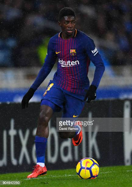 Oussame Dembele of FC Barcelona runs with the ball during the La Liga match between Real Sociedad and FC Barcelona at Anoeta stadium on January 14...