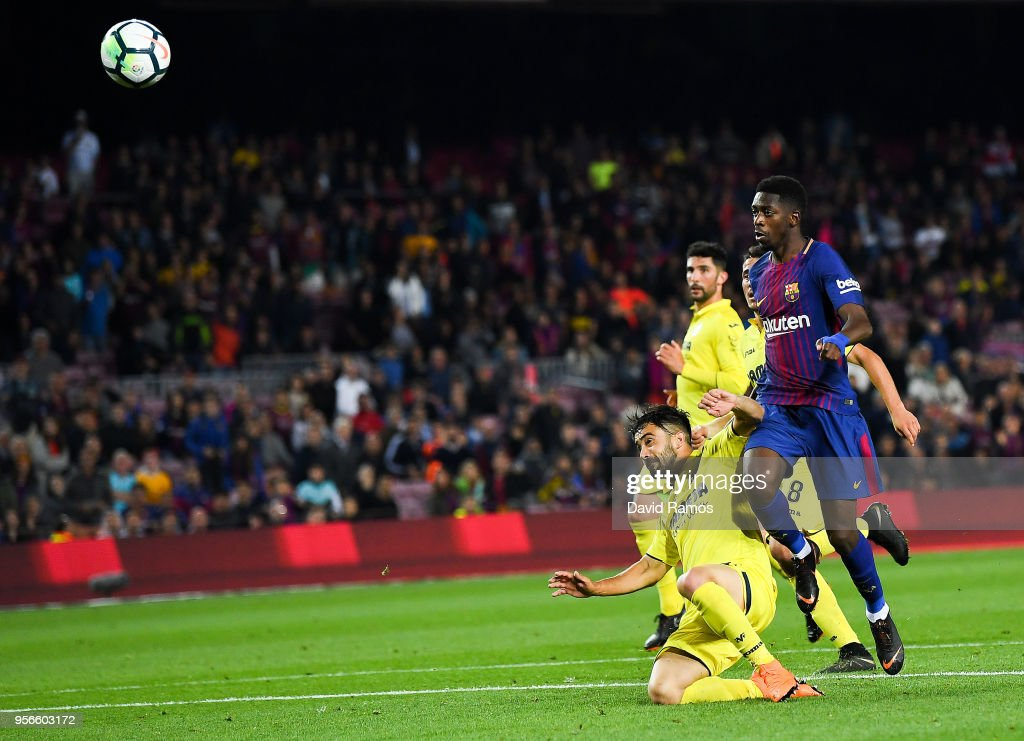Oussame Dembele of FC Barcelona scores his team's fifth goal during the La Liga match between FC Barcelona and Villarreal at Camp Nou on May 9, 2018 in Barcelona, Spain.