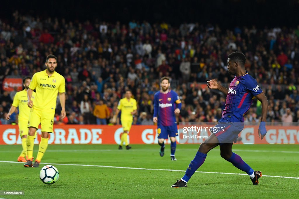 Oussame Dembele of FC Barcelona scores his team's fourth goal during the La Liga match between FC Barcelona and Villarreal at Camp Nou on May 9, 2018 in Barcelona, Spain.