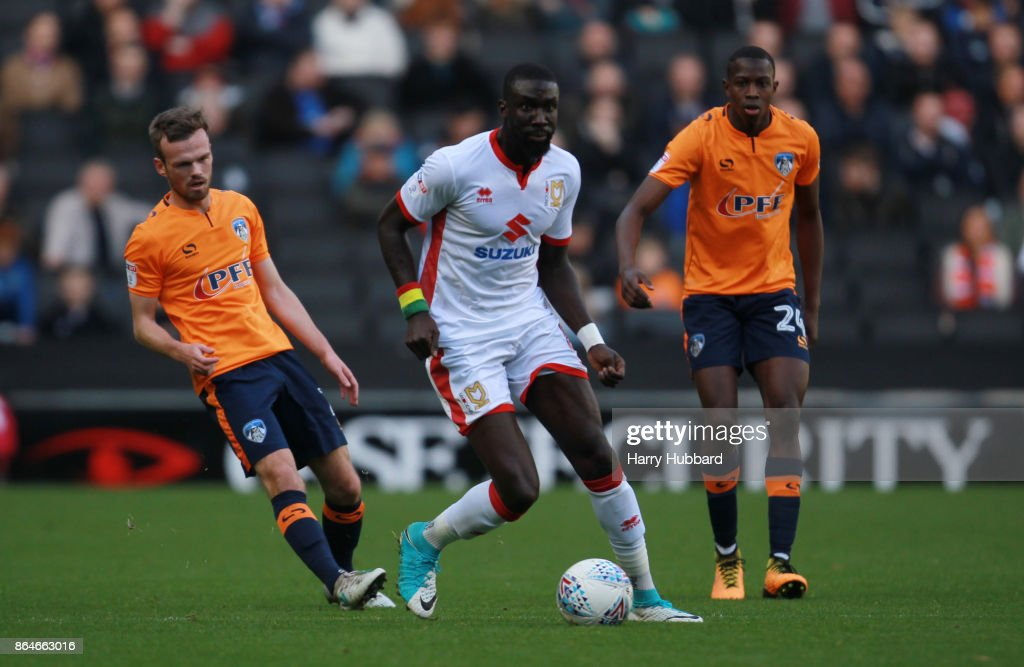 Ousseynou Cisse of Milton Keynes Dons in action during the Sky Bet League One match between Milton Keynes Dons and Oldham Athletic at StadiumMK on October 21, 2017 in Milton Keynes, England.