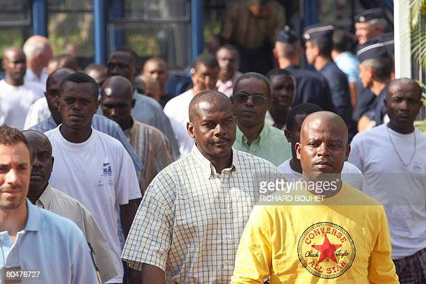 Ousted Anjouan leader Mohamed Bacar and his supporters arrive on April 2 2008 at the administrative court of SaintDenisdelaRunion on the French...