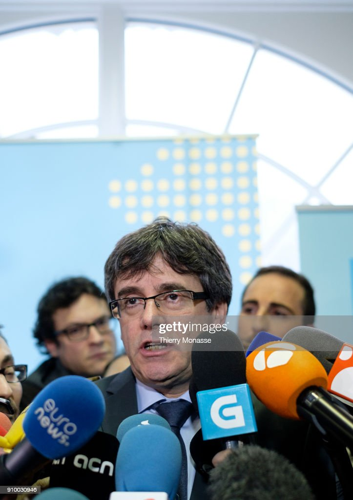 Ousted Catalan leader Carles Puigdemont addresses the media after a meeting with the President of the Parliament of Catalonia (Unseen) on January 24, 2018 in Brussels, Belgium.