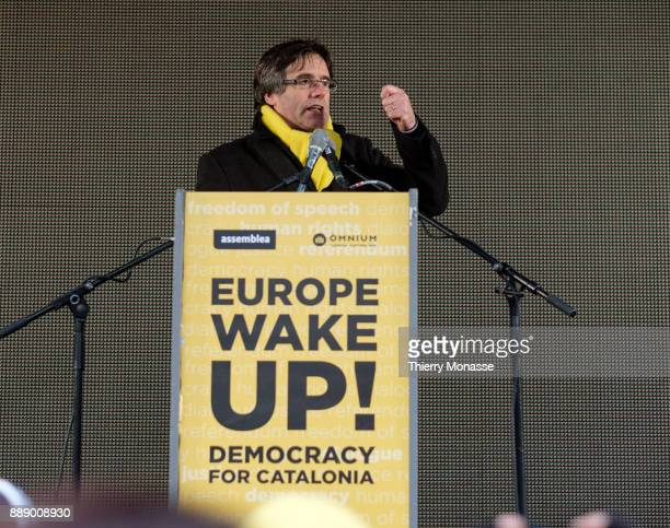 Ousted Catalan leader Carles Puigdemont deliver a speeche during a proCatalan supporters during a demonstration in the EU quarter Thousands of...