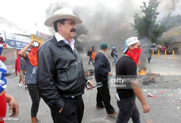 Ousted Honduran President and opposition's chief coordinator Manuel Zelaya is pictured during clashes between security forces and supporters of the...