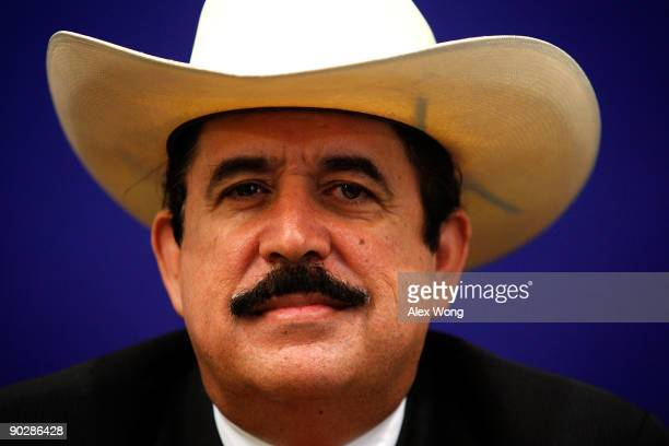 Ousted Honduran President Manuel Zelaya listens during a news conference at the Organization of American States September 1 2009 in Washington DC US...