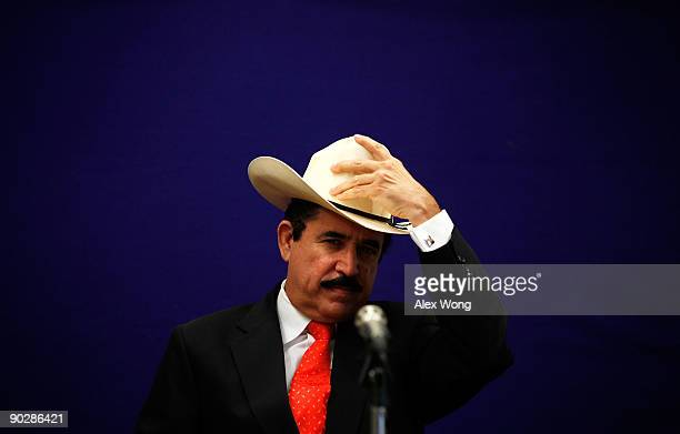 Ousted Honduran President Manuel Zelaya touches his hat during a news conference at the Organization of American States September 1 2009 in...