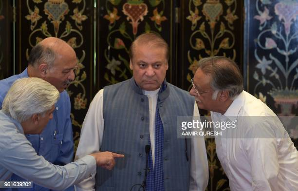 Ousted Pakistani prime minister Nawaz Sharif arrives for a press conference in Islamabad on May 23 2018 Sharif was ousted by the Supreme Court over...