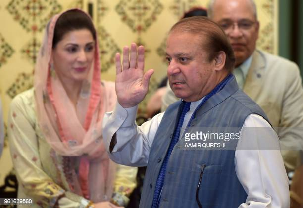 Ousted Pakistani prime minister Nawaz Sharif gestures as he arrives for a press conference in Islamabad on May 23 2018 Sharif was ousted by the...
