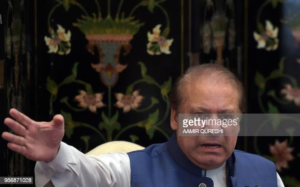 Ousted Pakistani prime minister Nawaz Sharif gestures during a press conference in Islamabad on May 10 2018 Sharif was ousted by the Supreme Court...