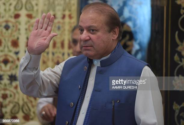 Ousted Pakistani prime minister Nawaz Sharif gestures prior to start a press conference in Islamabad on May 10 2018 Sharif was ousted by the Supreme...