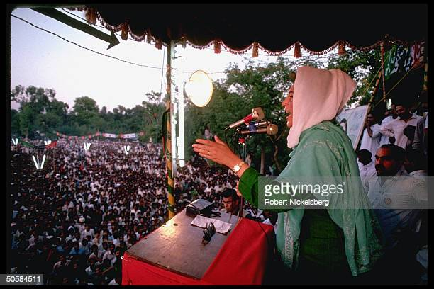 Ousted PM Benazir Bhutto ldr of Pakistan People's Party addressing PPP election rally campaigning in Punjab