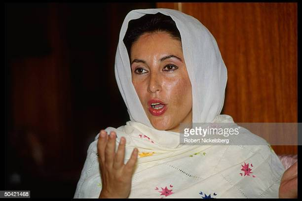 Ousted PM Benazir Bhutto speaking before start of her trial on charges of corruption & abuse of power.