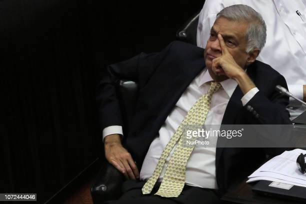 Ousted Sri Lankan prime minister Ranil Wickremesinghe attends a session at the parliament complex, Colombo, Sri Lanka.
