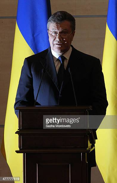 Ousted Ukrainian President Vikor Yanukovych holds a press conference on March 11 2014 in RostovonDon Russia Yanukovych insisted that he was still the...