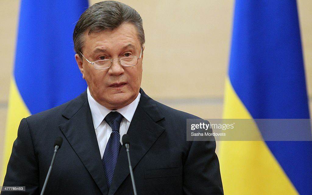 Ousted Ukrainian President Viktor Yanukovych Holds Press Conference In Rostov-on-Don : News Photo