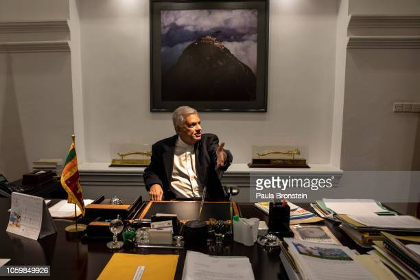 Ousted United National Party Prime Minister Ranil Wickremesinghe speaks from his office November 10, 2018 in Colombo, Sri Lanka. The political crisis...