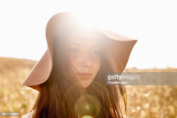 out and about in the fields of gold - brown hat stock photos and pictures