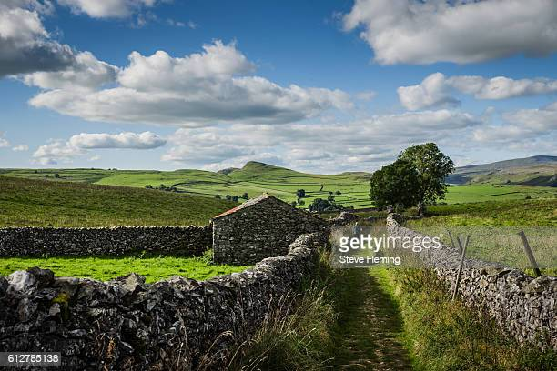 Out for a walk in Ribblesdale close to the village of Stainforth, Yorkshire Dales, UK.