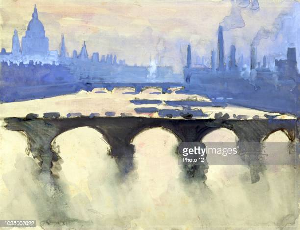 dome and spires and chimneys mist and smoke by American Artist Joseph Pennell 18571926 View from London Studio window looking down on river and...