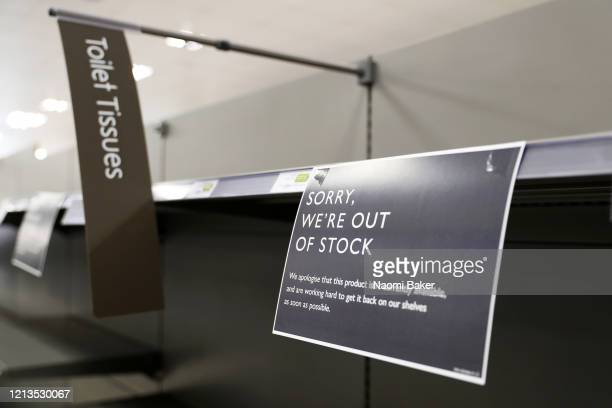 """Out of Stock' signs are seen inside a Waitrose supermarket on March 19, 2020 in Southampton, United Kingdom. After spates of """"panic buying"""" cleared..."""