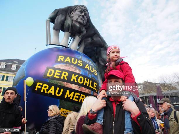 'Out of the coal Mrs Merkel' balloon by Greenpeace With the motto 'keep coal in the ground' thousands of activists took to the streets demanding...