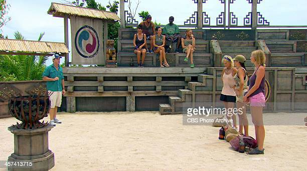 Out On A Limb Jeff Probst addresses Tina Wesson Laura Morett and Katie Collins during the thirteenth episode of SURVIVOR BLOOD VS WATER Wednesday Dec...