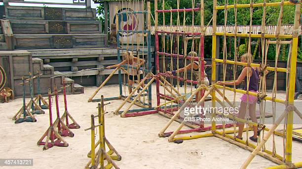 Out On A Limb Tina Wesson Laura Morett and Katie Collins compete in the Redemption Challenge during the thirteenth episode of SURVIVOR BLOOD VS WATER...