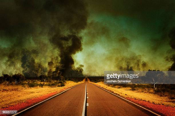 Outback road and bushfire