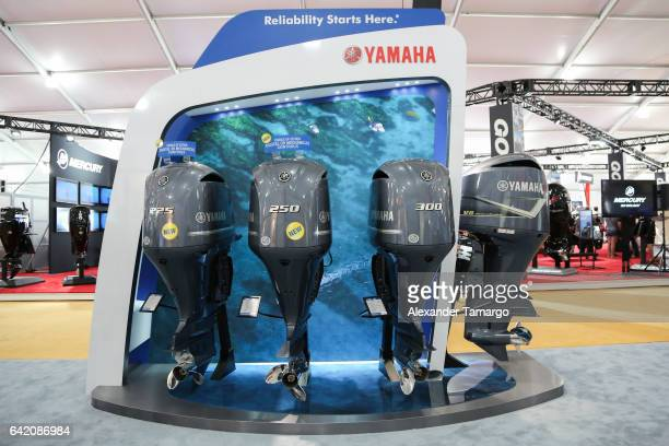 Outboard lineup at the Miami International Boat Show on February 16 2017 in Miami Florida