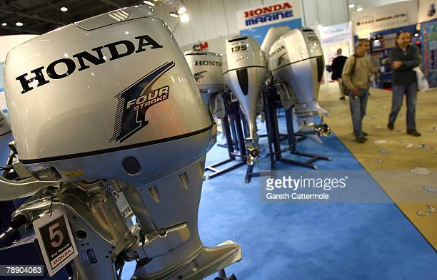 Outboard motors on display at the 2008 International Boat Show at ExCeL Exhibition Centre on January 11 2008 in London England