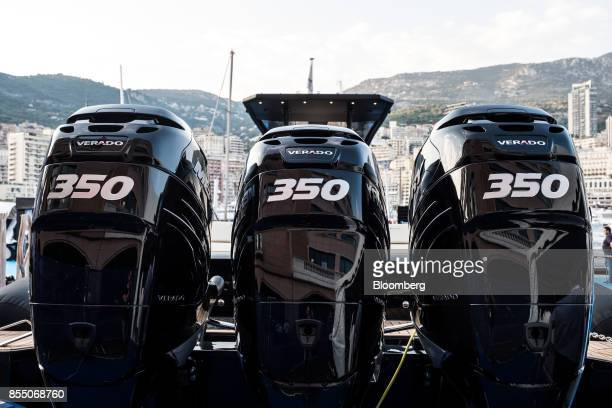 Outboard Verado 350 motors sit on the stern of a Ribco Venom 44 speedboat during the Monaco Yacht Show in Port Hercules Monaco on Wednesday Sept 27...