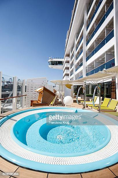 Outdoor area of the body and soul organic spa and sauna at the AIDAprima Cruise Ship Baptism on May 7 2016 in Hamburg Germany