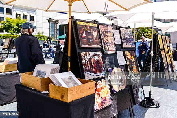 outdoor art gallery on union square, san francisco - art stock pictures, royalty-free photos & images