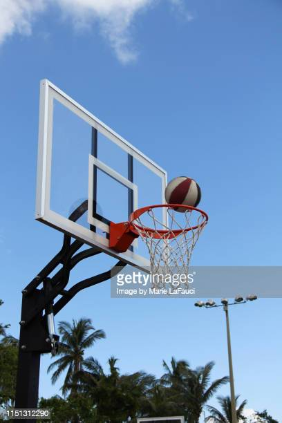 outdoor basketball in play - shooting at goal foto e immagini stock