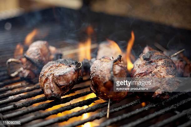 churrasco ao ar livre de carne de cervo grelhados - carne de cervo - fotografias e filmes do acervo
