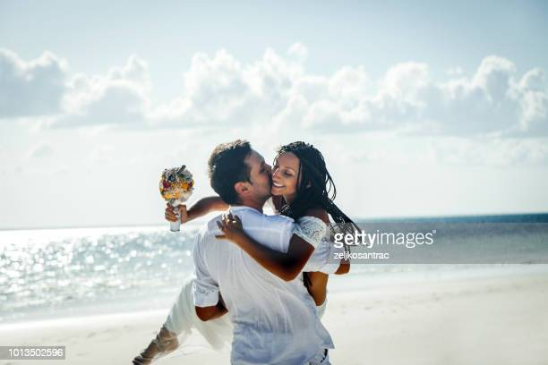 outdoor beach wedding ceremony near the sea - wedding stock pictures, royalty-free photos & images