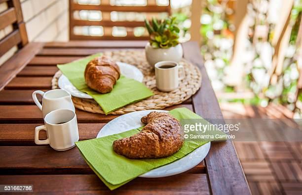 Outdoor Breakfast with Croissants