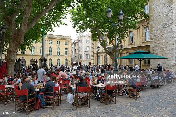 Outdoor cafe at Place de l'Hotel de Ville in Aix-en-Provence