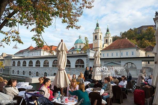 outdoor cafe in ljubljana, slovenia - ljubljana stock pictures, royalty-free photos & images