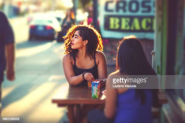 outdoor cafe - pretty women - saturated colour stock pictures, royalty-free photos & images