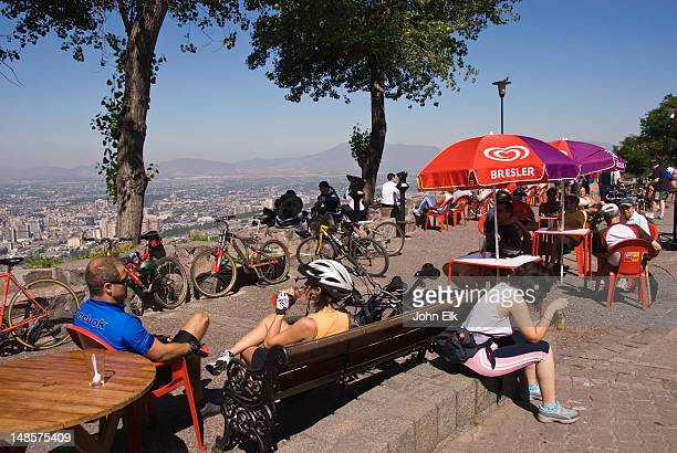 Outdoor cafe with bicyclists at Cerro San Cristobal.