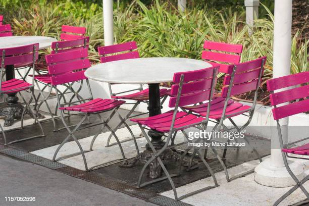 outdoor cafe with empty table and chairs - art deco furniture stock pictures, royalty-free photos & images