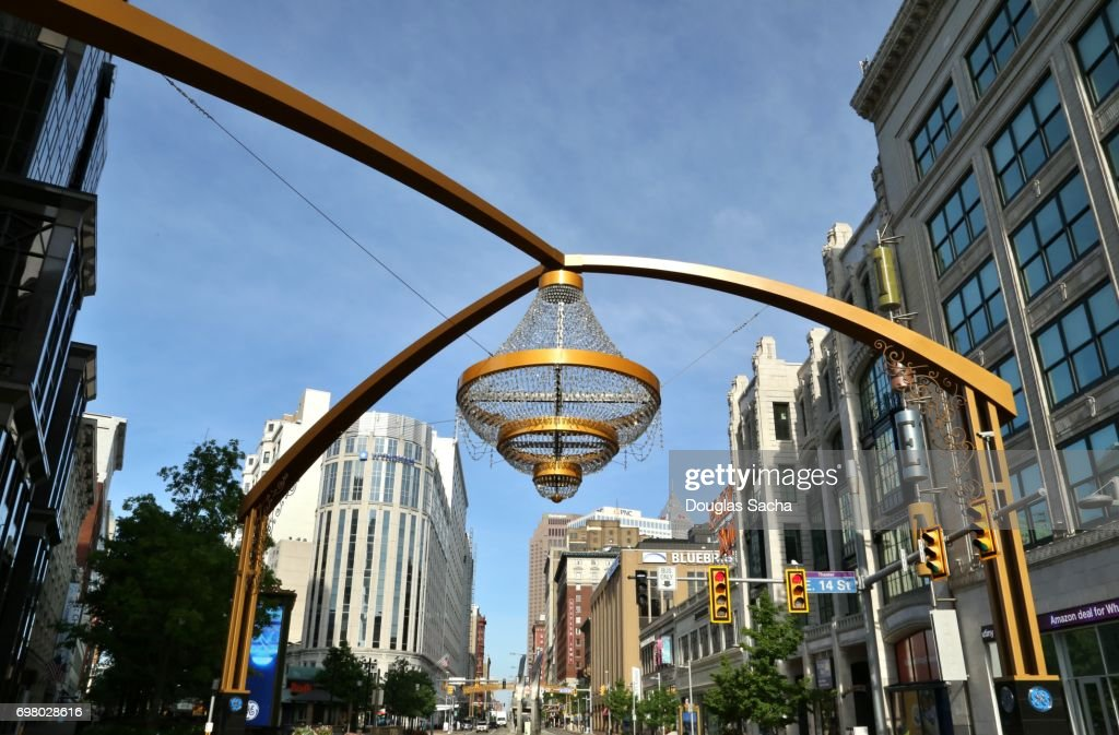 Outdoor chandelier at the Playhouse Square performing arts district : Stock Photo