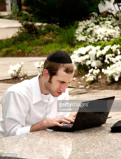 outdoor computing - jewish man stock photos and pictures