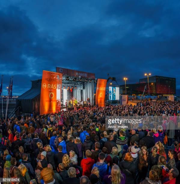 Outdoor Concert at Summer Festival, Cultural Night, Reykjavik, Iceland